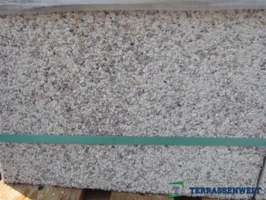 Terrassenplatten Weiß-Rot-Schwarz Wassergestrahlt